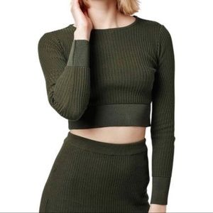 Topshop Green Ribbed Cropped Sweater Top